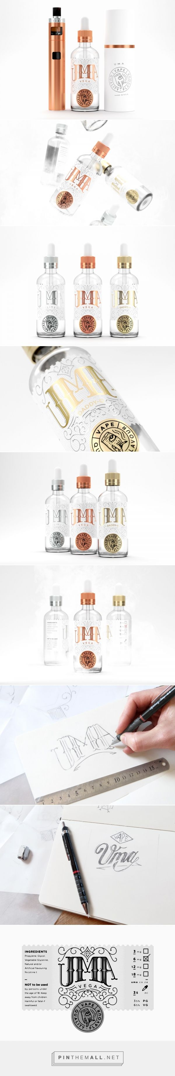 Uma vape liquid packaging design by The Motel - http://www.packagingoftheworld.com/2017/12/uma.html