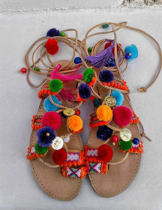 Pompom Greek sandalsgladiatorsdecorated with by boutiqueofsandals