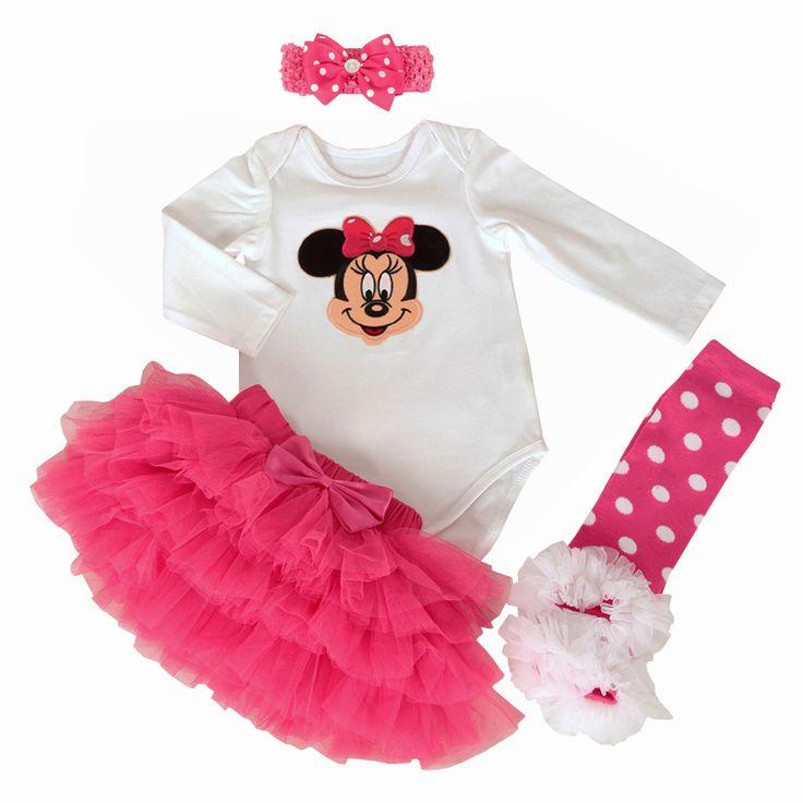 First Birthday Newborn Gift Clothing Set Baby Girls Dress Cotton Mesh Ruffle Girl Christening Gowns 4pcs Bodysuit Tutu Skirt Set