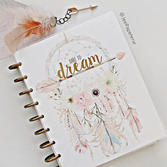 "Happy Planner COVER: Watercolor Dreamcatcher, Feathers, Arrows, & Florals with Gold Foiled ""Dare To Dream"", 10-mil Laminated Cover"