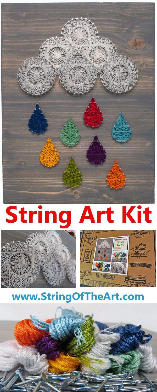 String art craft kit - Colorful Raindrops String Art Kit