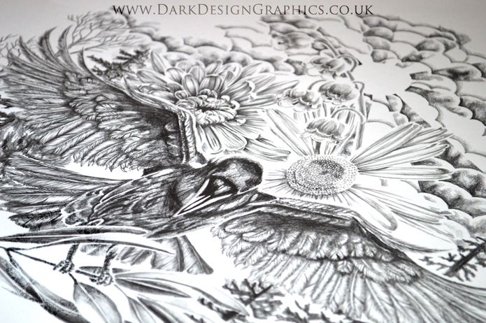 A step by step explanation of how we at Dark Design Graphics create a tattoo, with a time lapse video showing each step in this raven tattoo design. #tattoo #tattoodesign #halfsleeve