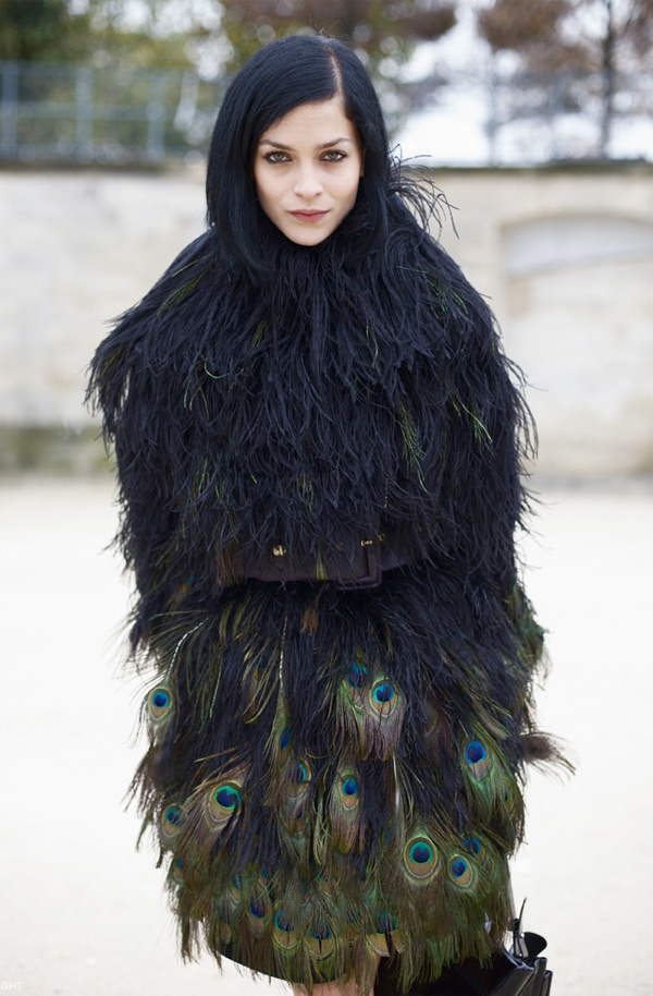 Leigh Lezark in Giambattista Valli feather coat as pinned by B Nicole.