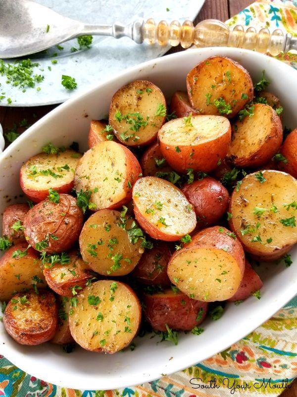 Slow Cooker Ranch Roasted Potatoes Potato Recipes Crockpot Bbq Dishes Healthy Potato Recipes
