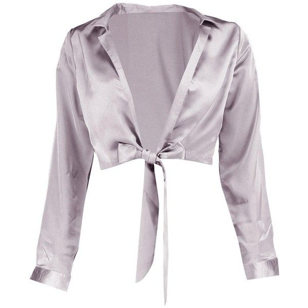 Boohoo Petite Rosie Tie Front Satin Shirt ($21) ❤ liked on Polyvore featuring tops, petite tops, tie front top, satin shirt, satin top and shirt top