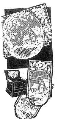 Vintage Chair Set Pattern 7166 Home in Garden in Filet Crochet 1960s