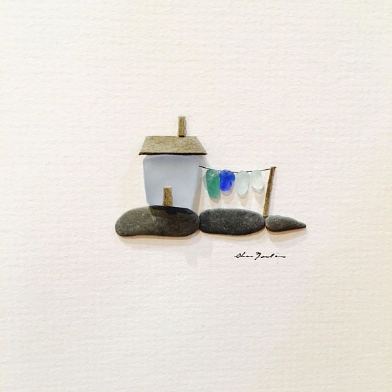Reserved Original sea glass art 5 by 5 Mini unframed pebble