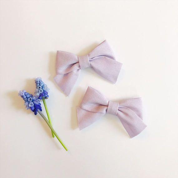 Mini School Girl Bow Lavender with Nylon Band or Hair Clip, nylon bow headbands, nylon baby headbands, hair bows, preemie headband, Easter bow headband, pigtail bows, pigtails, pigtail set, Etsy store