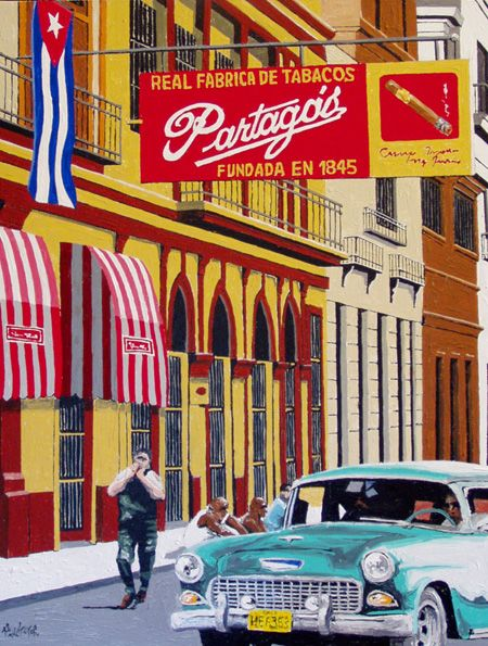 Print (16 x 20) of an original Cuban street art painting depicting the famous Partagas Cigar Factory, highlighted by the classic sign and vintage car -$39.95