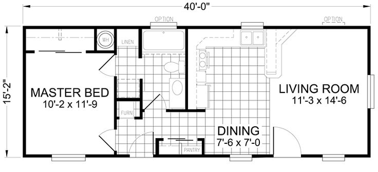 Little House on a Trailor 16 x 40 Floorplan