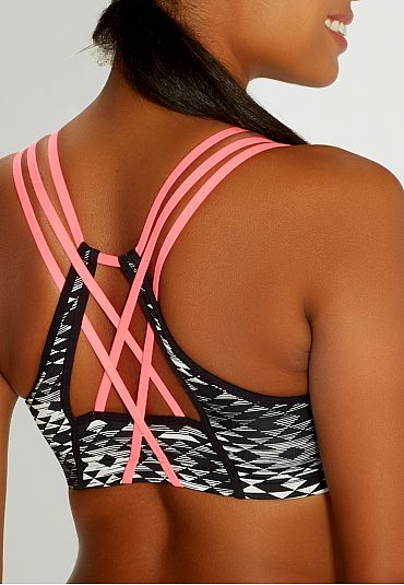 sport bra in ethnic print with neon straps - maurices.com
