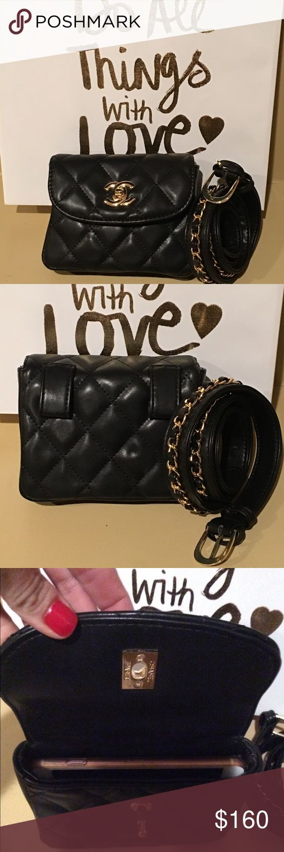 """Chanel Waist Bag / Belt Bag New- quilted leather belt bag, waist bag, fanny pack.  The belt measures 39"""" and has a gold chain attached to the exterior. The belt is removable and you can use your own belt if you need a longer one.     Last pic shows my iPhone 6 plus in it. It fits tight but fits! PRICE REFLECTS. NO OFFERS  CHANEL Bags"""