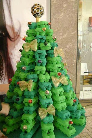 That's a whole lot of egg cartons!  Oh, Christmas tree!