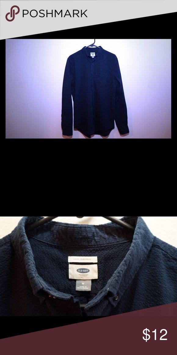 Old navy navy blue dress shirt Size medium, feels really soft. Perfect condition Old Navy Shirts Dress Shirts