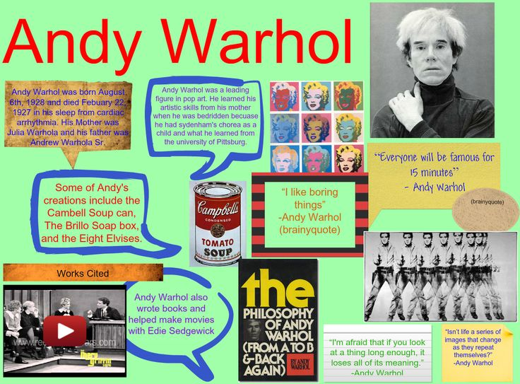 Andy Warhol Biography for Language Arts by wjhs111863