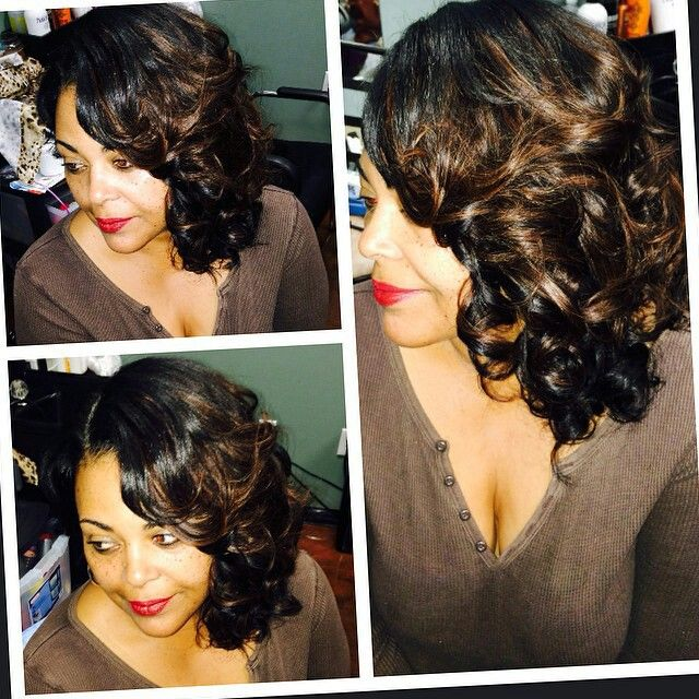 Side swept curly simple party hairstyle