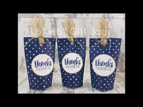 """Stampin' Up! Gift Bag using 6"""" x 6"""" Floral Boutique DSP - YouTube"""