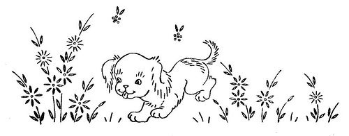 Puppy and flowers embroidery transfer