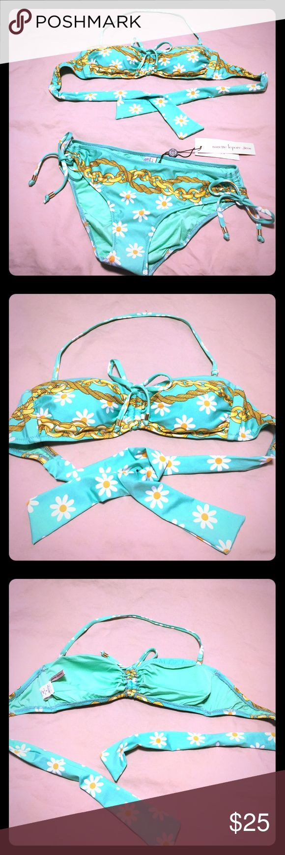 Gorgeous bikini! NWT Nanette Lepore bikini! Beautiful mint green color with floral design. Removable padding. Very well made. Amazing deal! Nanette Lepore Swim Bikinis