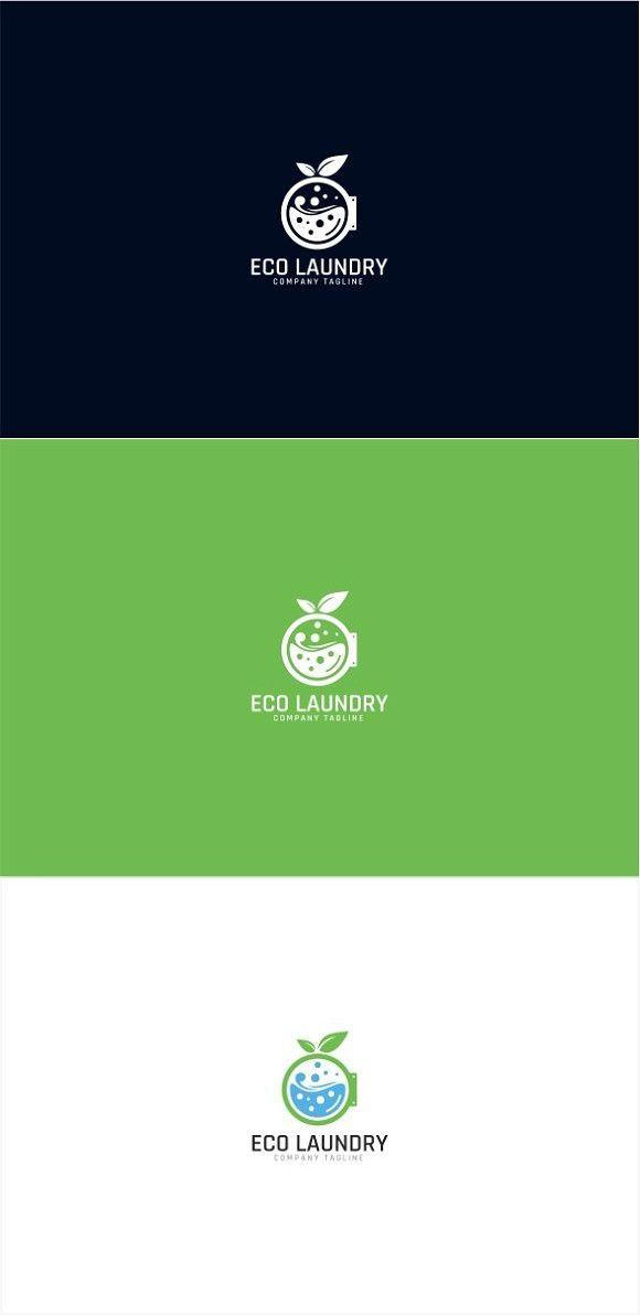 Eco Green Laundry Logo Template Desain