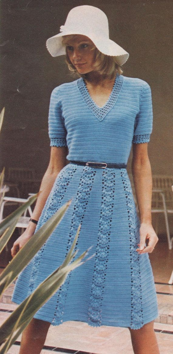 """Instant PDF Download Vintage Crochet Pattern to make a Ladies Lacy V Neck Short Sleeve Flared Lace Panel Skirt Dress Bust 34-40"""""""