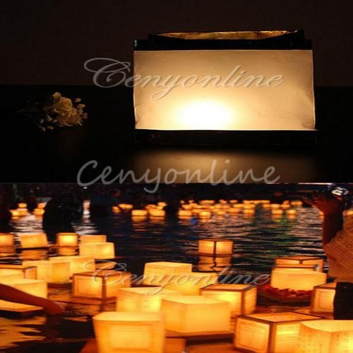 10 stuks chinese retro vierkant wit papier partij decoratie wenst drijvende water lantaarns rivier gele kaars lamp licht universele