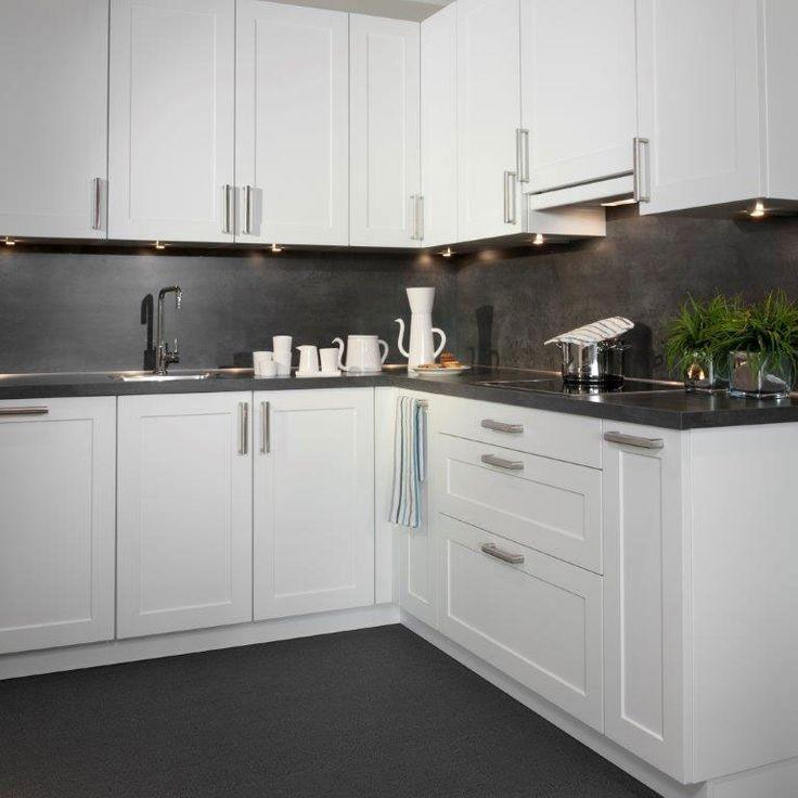 Moderne witte hoekkeuken inspiratie grepen en frontjes nieuw huis pinterest kitchens - Deco toilet grijs ...