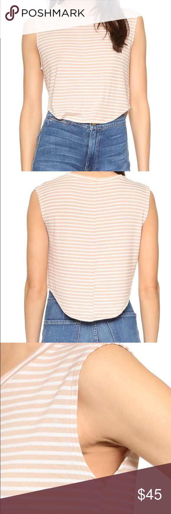 Planet Blue LNA Ribbed Atlanta Crop Top Slim horizontal stripes add a graphic touch to this ribbed LNA crop top. Banded neckline. Curved hem. Sleeveless. Planet Blue Tops Crop Tops