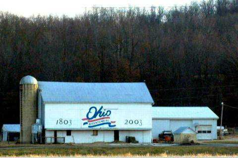 Coshocton County - Ohio  Location:    54210 Rt. 36, Fresno; just east of intersection SR 93 and U.S. Route 36.    Latitude:    N40 17.50    Longitude:    W81 43.44      This was the 20th barn to be painted.