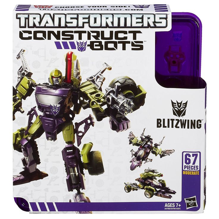 Hasbro TRANSFORMERS Construct Bots BLITZWING 67 Piece Buildable Transforming Robot Action Figure