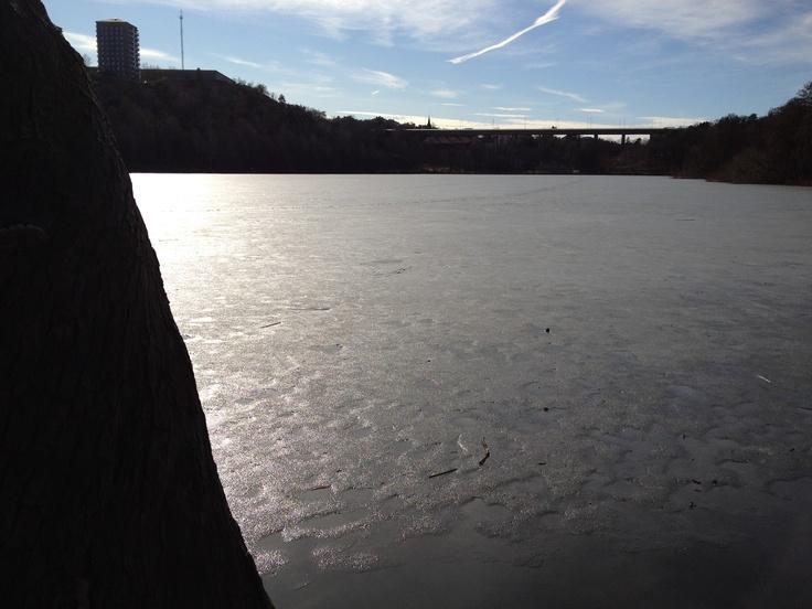 Sjön Trekanten före islossning.