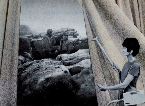 Martha Rosler. Cleaning the Drapes from the series House Beautiful: Bringing the War Home. c. 1967-72