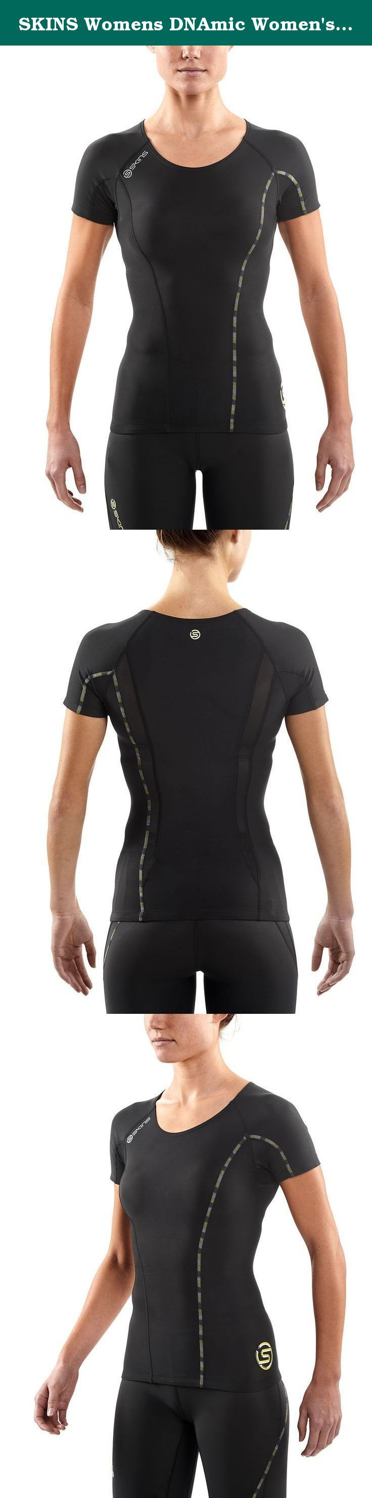 SKINS Womens DNAmic Women's Compression Short sleeve Top, black, Large. The SKINS dynamic range brings our original scientifically proven sports compression clothing line to new fit and performance highs. If your sport means that you need to push your upper body to the limit and be fighting fit the next morning, then the dynamic compression top is what you're in need of. Our engineered gradient compression increases blood flow and oxygen supply to your muscles to improve your performance...
