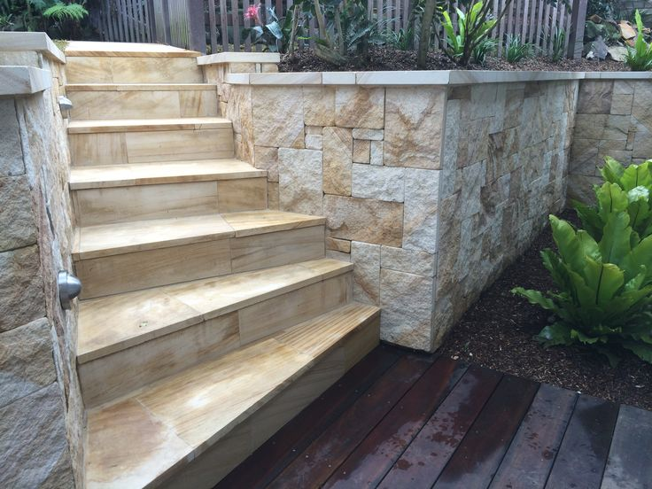 Sandstone stairs, Spotted gum decking.