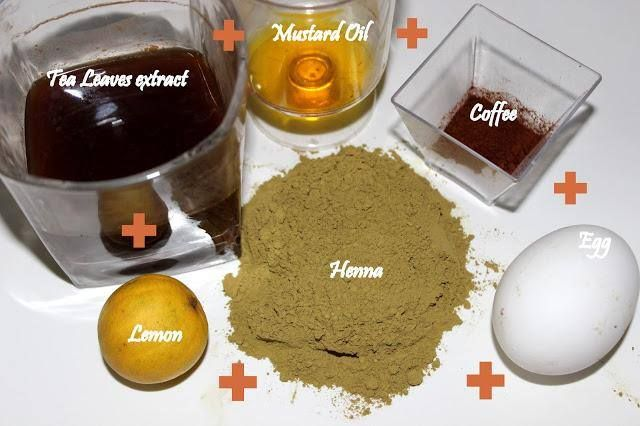 1- Three Tb henna pdr, 2- Steep tea leaves 5 mins let cool for 10-15 mins for burgundy shine, 3- One tsp mustard oil for moisturizing. 4- One egg for shine, protein and silkiness. 5- One lemon juice for deeper color and sets pH of scalp, reduces dandruff. 6 - One ts coffee for color & shine ~ Mix to a paste and sit it for 3 hours - Apply to hair, leave in 3 hours, Rinse with cold water - Shampoo next day