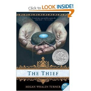 The Thief by Megan Whalen Turner. This is an excellent series. Turner has a great way of keeping it engaging and interested while holding back secrets until the very end. Great books!