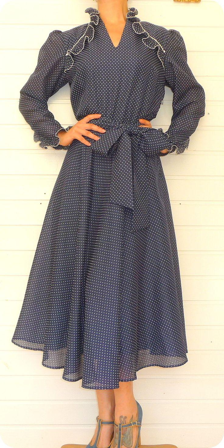 Vintage Traum R. MODELLE Kleid 38 M Dress Pin Up Polka Dots Tanzkleid Punkte | eBay