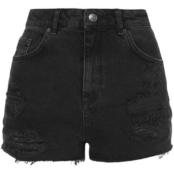 TOPSHOP PETITE MOTO Black Ripped Mom Shorts (225 RON) ❤ liked on Polyvore featuring shorts, bottoms, pants, short, black, petite, black distressed shorts, black cut off shorts, petite shorts and cut off shorts