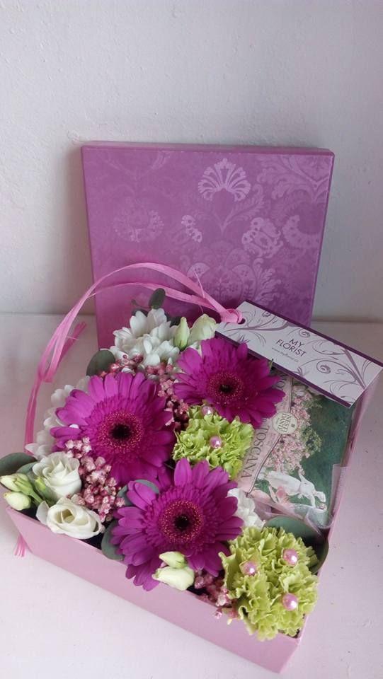Flower Box with gerbera, dianthus, eustoma, gypsophilla