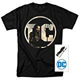 Justice League Movie Aquaman DC Comics Logo T Shirt & Exclusive Stickers (Medium)