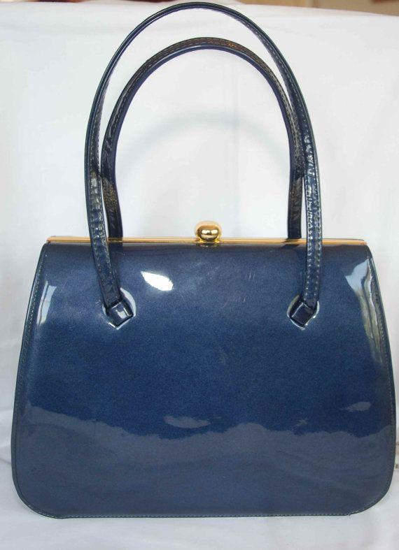 Vintage Metallic Blue Patent Leather Handbag by Deliasvintage, £34.99