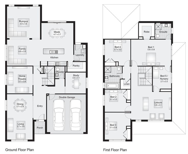 Sheridan-38-Floorplan. Like the separate rumpus joined to the living area. Downstairs study could be converted to guest bedroom and upstairs bed 5 nursery could become upstairs study room.