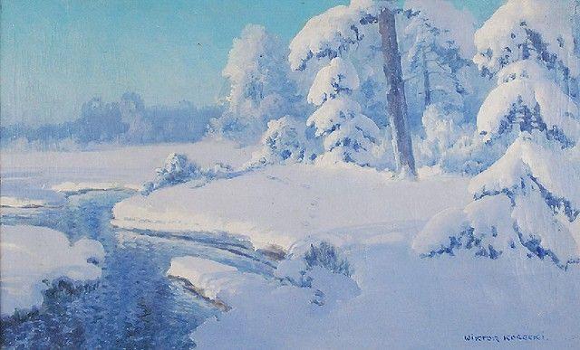 WIKTOR KORECKI (1890-1980)  Pejzaż zimowy olej, płótno; 51 x 80 cm
