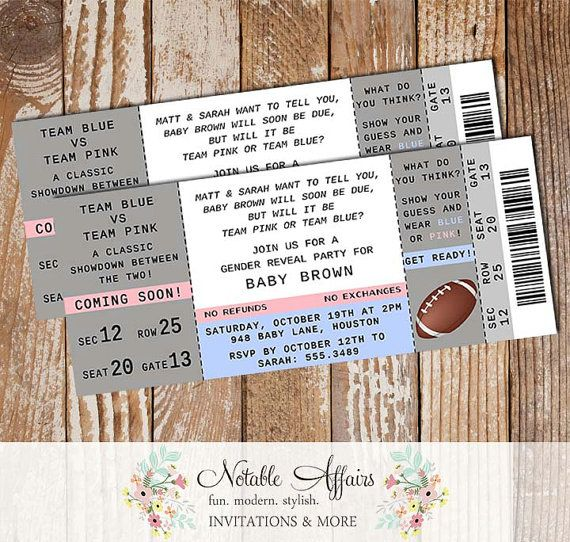 Football Boy or Girl Blue vs Pink Gender Reveal Party Ticket invitation - choose your wording
