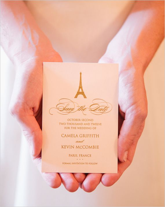 pairs wedding invite by Audrey from One and Only Paris Photography,  Read more at http://www.weddingchicks.com/2013/04/02/one-day-in-paris/#xYPlk3MrXIARmkqV.99