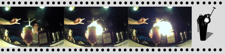 Cool shot of Brighton bartender, Mattia Cassadei, creating a delicious...and no doubt Tiki-inspired...beverage for the Disaronno Cocktail Competition, 2014.