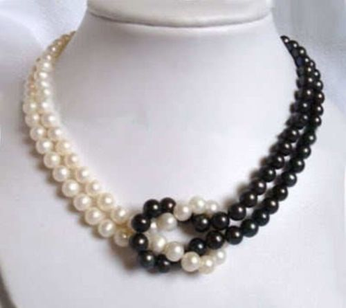 NEW 8-9 MM BLACK + WHITE AKOYA SOUTH SEA PEARL NECKLACE 18INCH 14K CLASP