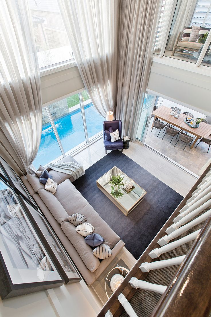 Soaring double storey ceiling void on the Astor Grange with a Classic Hamptons World of Style.