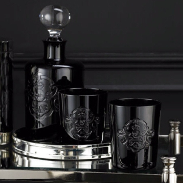 Ayers Skull & Bones DOF Set  Set of two lowball tumblers crafted from hand-blown clear crystal cased in black crystal, detailed with a whimsical hand-cut skull-and-crossbones motif.