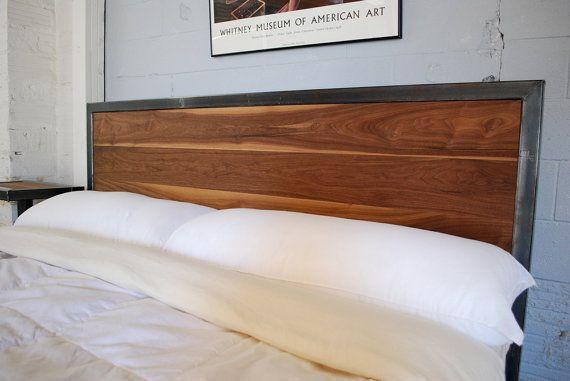 Kraftig plataforma cama con cabecero de nogal áspero KING SiZE